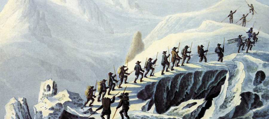 First Expedition to the Top of the Mont Blanc, 1787