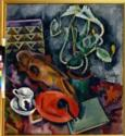 Alexander Wassiljewitsch Kuprin, Stillleben mit Kakteen und Pferdeschädel auf dem schwarzen Hintergrund
