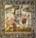 Platonische Akademie. Mosaik von Pompeji
